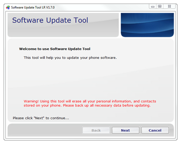 Software Update Tool LR main screen
