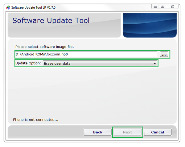 Software Update Tool LR settings window