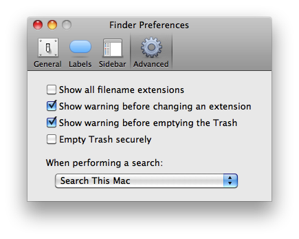 Mac OS Finder menu advanced