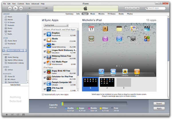Apple iTunes app sync window