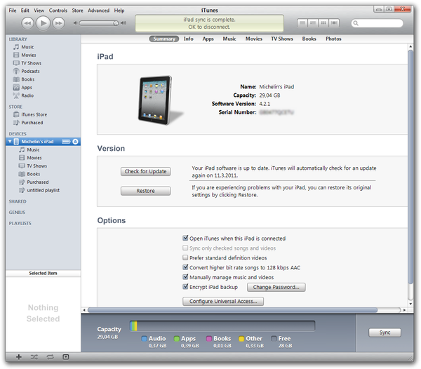 Apple iTunes manage device window