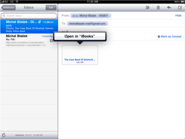 Apple iPad mail client