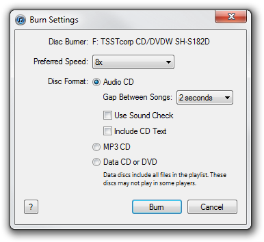 Apple iTunes Burning settings