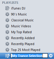 Apple Playlists menu