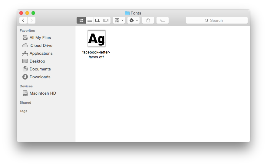 OS X User Library Font folder