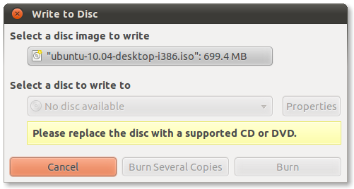 Gnome Desktop Write to Disc