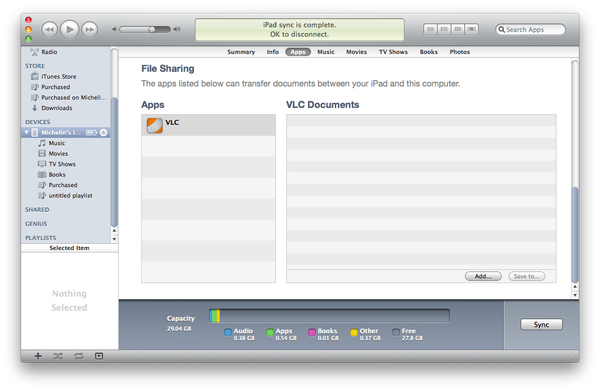 Apple iTunes menu apps file sharing option