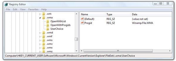Microsoft Windows Registry Editor .wma settings