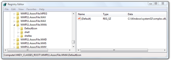 Microsoft Windows Registry Editor default icon settings