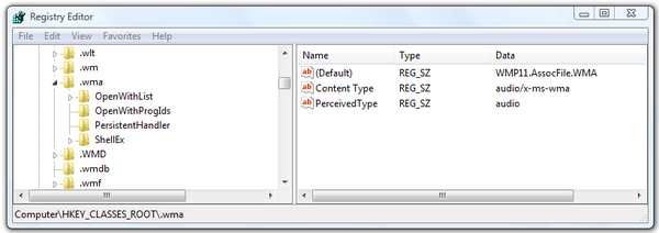 Microsoft Windows Registry Editor .wma registry key