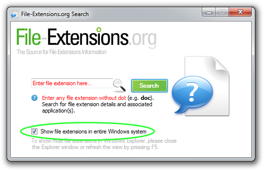 File-Extensions.org Search show file extensions box highlighted