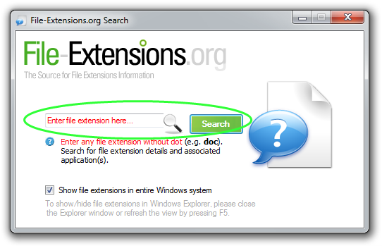 File-Extensions.org Search search box highlighted screenshot