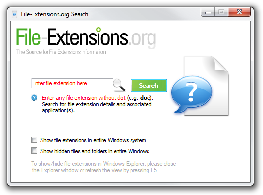 File-Extensions.org Search utility screenshot