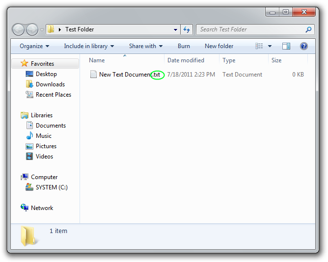 Visible TXT file extension in Windows Explorer