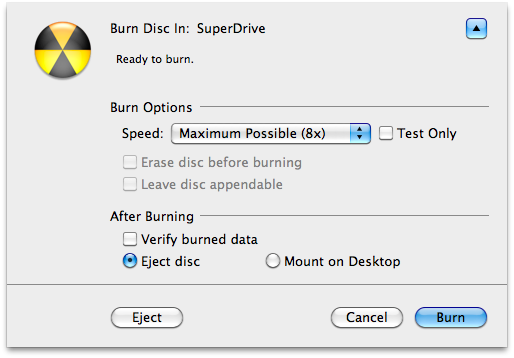 Apple Disk Utility burning options