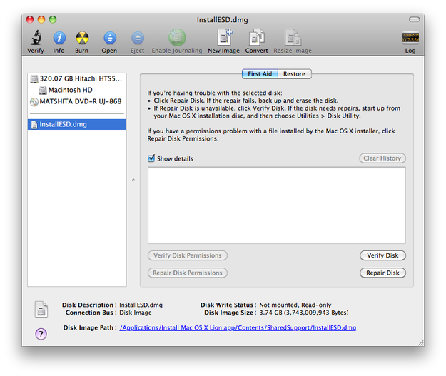 InstallESD.dmg file in Apple Disk Utility