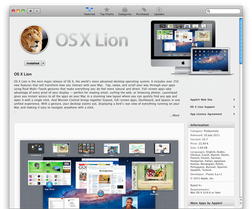 Mac OS X Lion in App Store