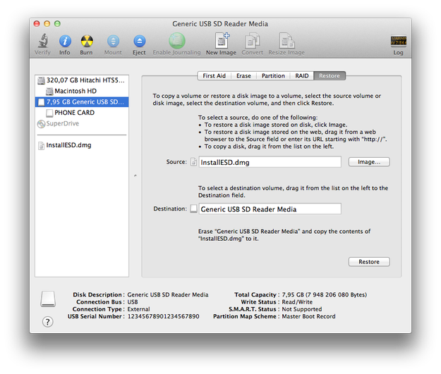Apple Disk Utility all settings for USB Lion flash disk are finished