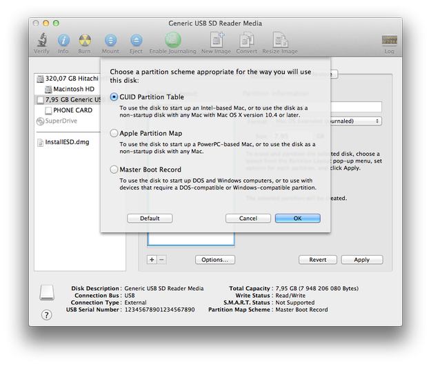 Apple Disk Utility partition options