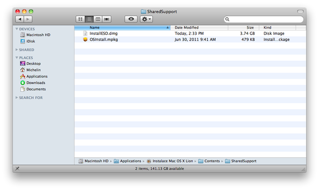 InstallESD.dmg file in the Mac OS X Lion installation application