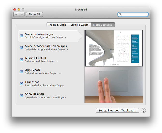 Mac OS X Lion multi-touch gestures settings