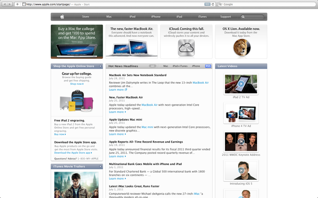 Mac OS X Lion Safari browser full screen mode