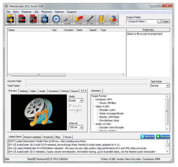 MediaCoder main window