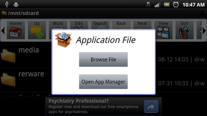 Android APK file options in Astro Explorer