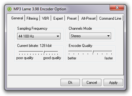 Output audio format settings