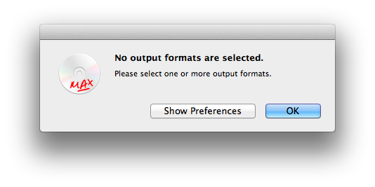 Select output formats