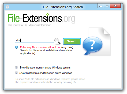 FIle-extensions.org Search app for Windows