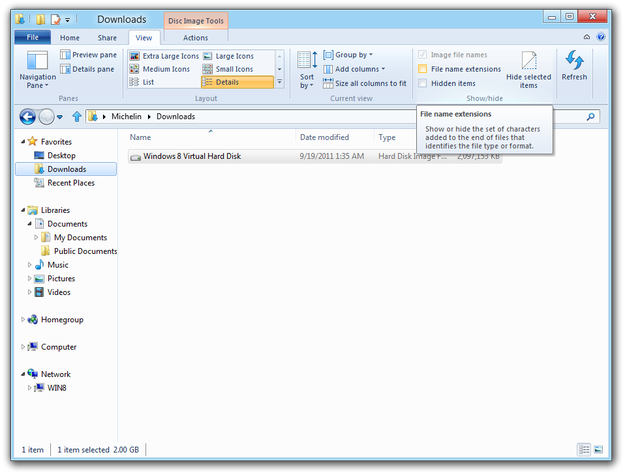 Windows 8 Explorer file extensions setting