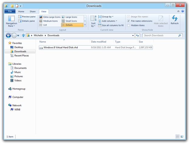 Windows 8 Explorer show file extensions enabled