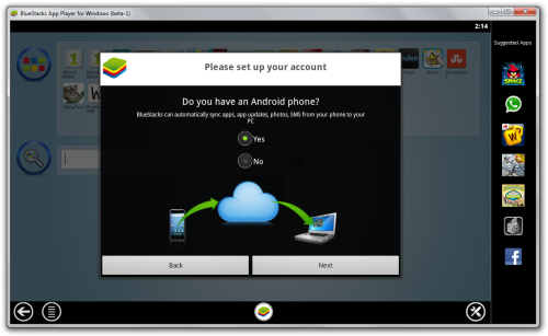 Screenshot of Android Synchronization window in BlueStacks App Player.
