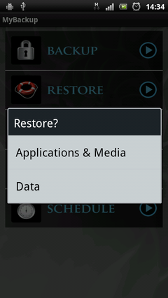 MyBackup Pro select data to restore