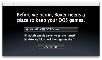 Boxer DOS Games folder setup screen