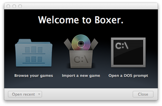 Boxer for Mac Welcome Window