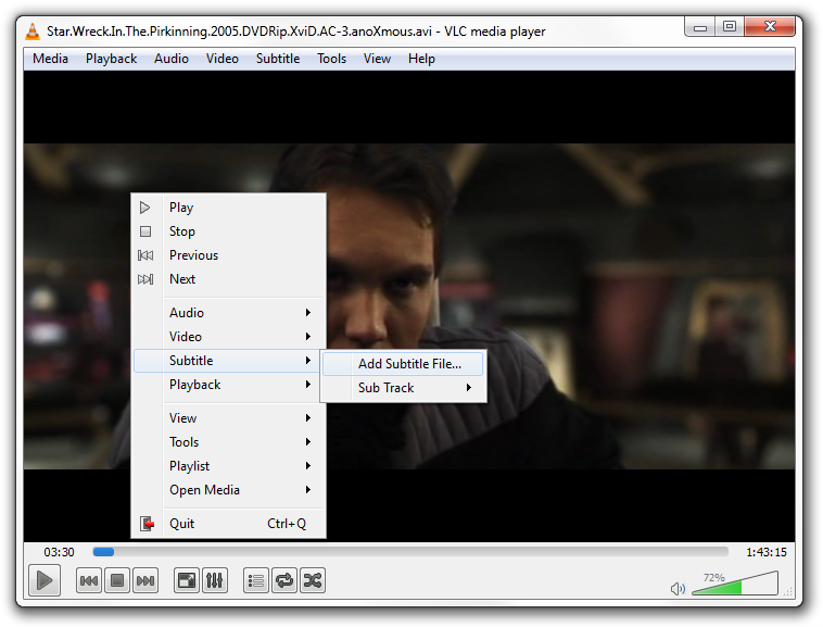 Adding subtitles to VLC player