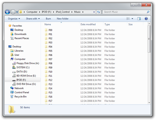 Windows Explorer view content of iPod