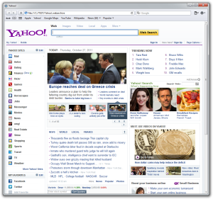 Screenshot of locally stored Yahoo! page from a webarchive file.
