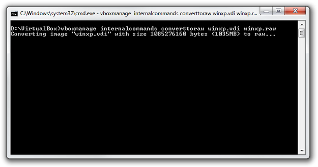 VirtualBox convert VDI to RAW