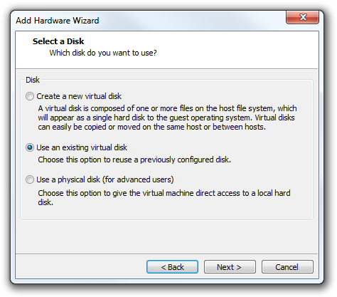 VMware Add Hardware Wizard