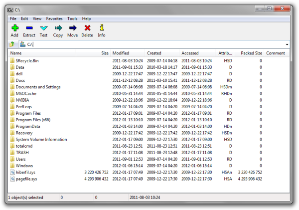 7-Zip File Manager screenshot