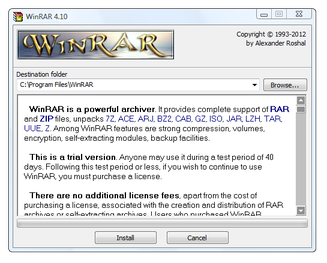 WinRAR installation window