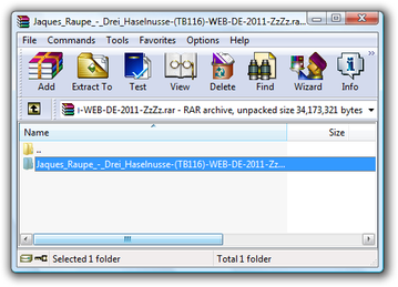 WinRAR open RAR file