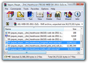 WinRAR selected files