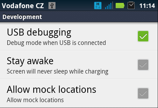 Android USB debugging mode