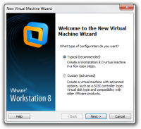 Step 1 of making of new virtual machine in VMware.