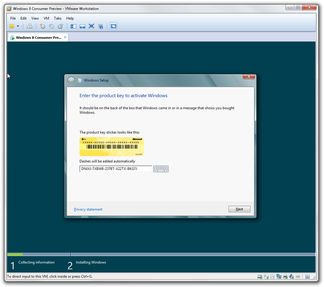 Guide install windows 8 as a virtual machine with vmware for Windows installer