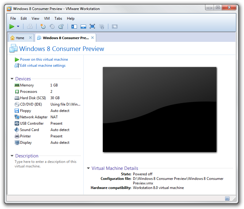 Windows 8 consumer Preview virtual machine ready to be launched.